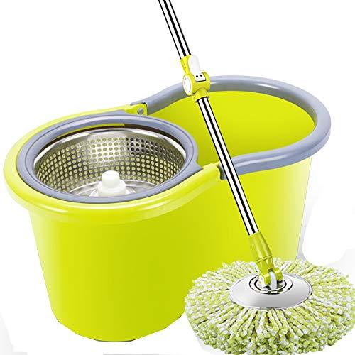 Axdwfd mocio rotante doppia guida pressione della mano disidratazione automatica mop head, 6 teste di mop cestino di metallo (colore : giallo)