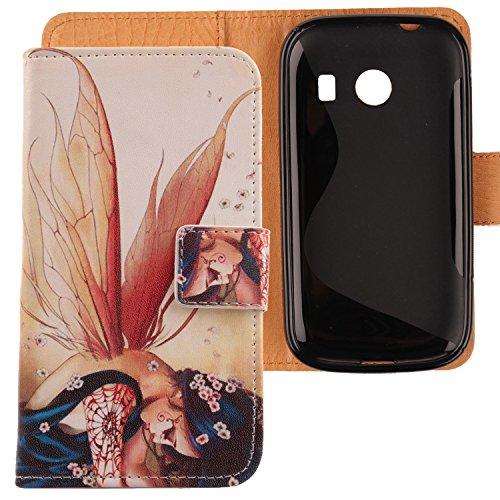 Lankashi PU Flip Leder Tasche Hülle Case Cover Schutz Handy Etui Skin Für Samsung Galaxy Ace Style SM-G310 Wing Girl Design