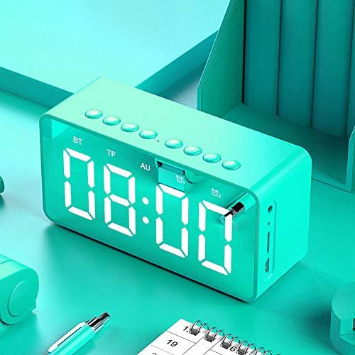 Preisvergleich Produktbild Xiaoqingren Tragbarer drahtloser Bluetooth-Lautsprecher-Uhr-Subwoofer-... Led Time Snooze Alarm, Grün