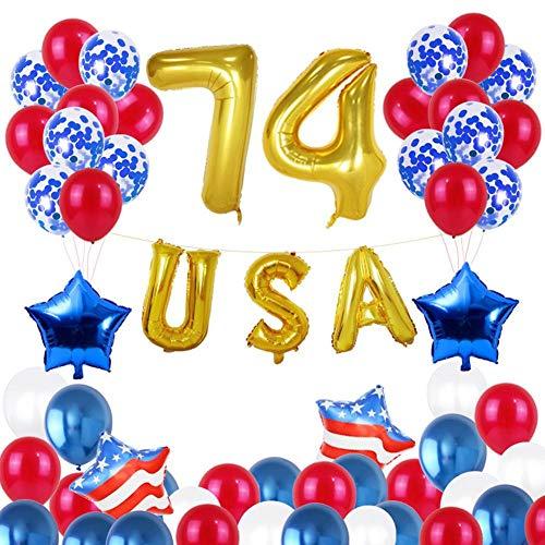 4. Juli Unabhängigkeitstag der Vereinigten Staaten, Ballon, Aluminiumfilm, rundes Kostüm, Flagge, fünfzackiger Stern, patriotische Dekoration, Feier der Luftballons, Party