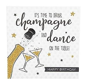 Depesche 8211.014Tarjeta de felicitación Glamour con Ornamento y Purpurina, cumpleaños