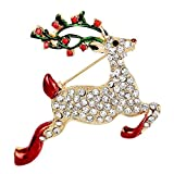 Hosaire Brooch Eleagant Fashion Christmas Deer Design Brooch Pin For Wedding Alloy Rhinestone Shawl Clip Lover Gift