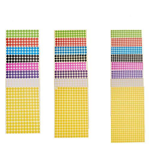 nbeads 48 Blätter von 6mm 8mm 10mm Farbige Handwerk Aufkleber Removable Coding Label für DIY Scrapbooking Handwerk Making Notes Mark Spiele, mischfarbe (Noten Für Handwerk)