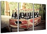 alte Coca Cola Flaschen 3-Teilig(120x80cm) auf Leinwand, XXL riesige Bilder fertig gerahmt mit Keilrahmen, Kunstdruck auf Wandbild mit Rahmen