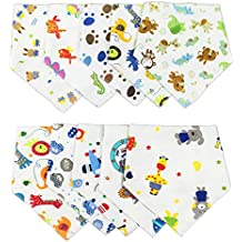txian Cute dibujos animados patrón bebé Saliva Toalla algodón impermeable baberos Bandana desgaste fácil y limpia Dribble babero Pack de 10
