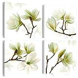 murando - Bilder Blumen 80x80 cm - Vlies Leinwandbild - 4 TLG - Kunstdruck - modern - Wandbilder XXL - Wanddekoration - Design - Wand Bild - Magnolien weiß grün b-A-0259-b-l