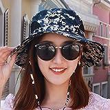 QIER-MZ Hut Männliche Und Weibliche Tarnung Sonnenhüte Angeln Hüte Im Freien Große Sonnenschutz Fischerhut Frühling Und Sommer Zusammenklappbar Blau