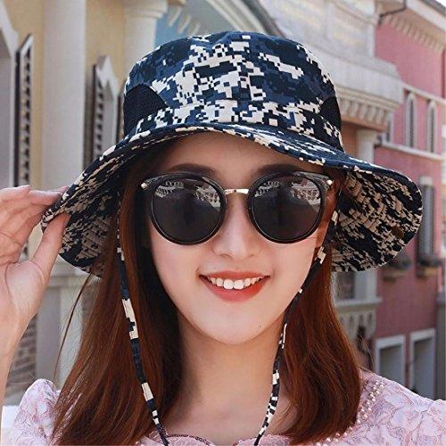 XINQING-mz Hut, männliche und weibliche Tarnung Sonnenschirm - Hut, der anglerhut, Outdoor - große Sonne der anglerhut, im frühling und Sommer zu Falten,blau