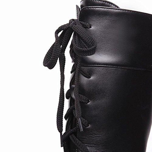 Mee Shoes Damen Schnürsenkel Plateau chunky heels runde Stiefel Schwarz