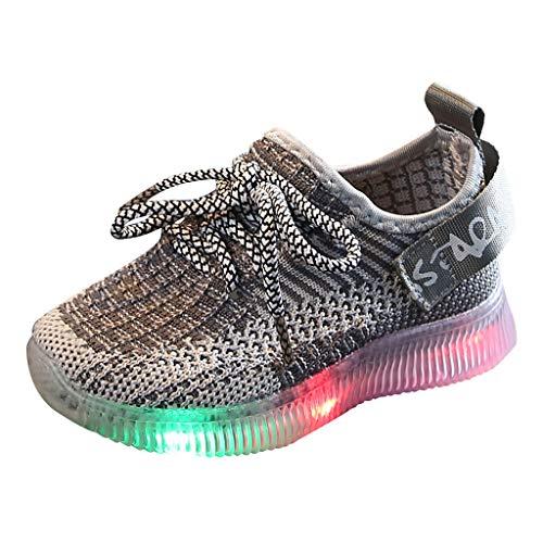 BaojunHT Zapatillas Deportivas con Luces LED para niños y niñas, Luminosas, cómodas, Informales, para Correr, Deportivas, con Cordones, Color Gris, Talla 30 EU