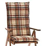 6 x Auflagen für Hochlehner 120 cm lang 8 cm dick in braun GO-DE 20432 ohne Sessel