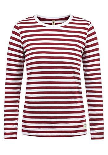 DESIRES Mila Damen Longsleeve Langarmshirt Streifenshirt Shirt Mit Rundhalsausschnitt, Größe:M, Farbe:Biking-Red (0799)