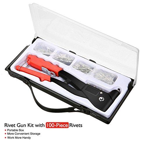 Audew Blindnietzange Nietzange aus Aluminium für Nieten 2.4-4.8mm, Griffsicherung Und Rückholfeder für Einhand-Bedienung inkl. Koffer