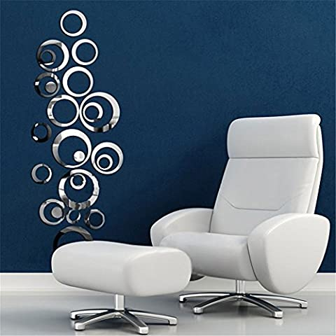 Circles Mirror Style Removable Decal Zolimx Vinyl Art Wall Sticker Home Decor