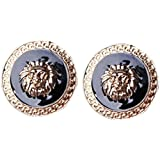 YAZILIND Jewelry Punk Style Black and Gold Plated Carve Lion'S Head Alloy Stud Earrings
