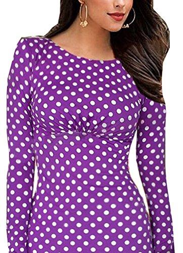 SunIfSnow Damen Schlauch Kleid, Gepunktet Violett