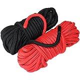 Extra larga Pack de 2x 36-foot cuerdas de 11m (72-foot total) negro y rojo de cuerda de algodón suave, por Bliss frontera