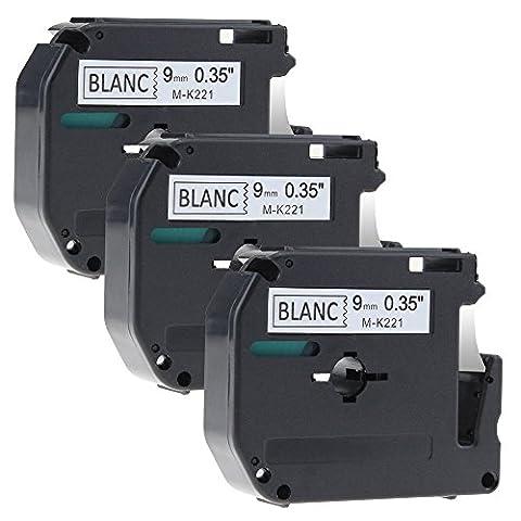 Lot de 3 Noir sur Blanc Ruban Cassette Ruban pour Étiqueteuse MK-221 / 9mm x 8m / pour Brother P-touch PT-100,PT-110,PT-55BM,PT-55S,PT-65,PT-65SB,PT-65SCCP,PT-65SL,PT-65VP,PT-70,PT-70BBVP,PT-70BM,PT-70BMH,PT-70HK,PT-70HOL,PT-70HOT,PT-70SP,PT-70SR,PT-80,PT-80SCCP,PT-85,PT-90