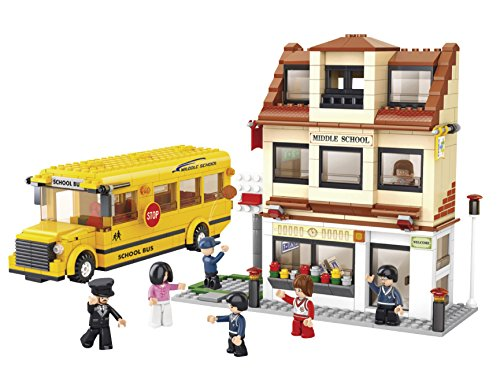 Funstones - 487 Teile - Bausteine Schulbus + Schule Gebäude + Figuren Bus Baustein Bausatz Set Bau Steine