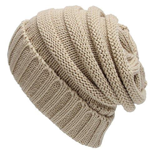 TININNA Unisexe Hiver Chaud Slouchy Long Beanie Chapeau D'hiver Baggy Bonnet Chapeau Laine Tricoté Turban Capuchon Beanie Skullcap Headdress Coiffe Cap Hat