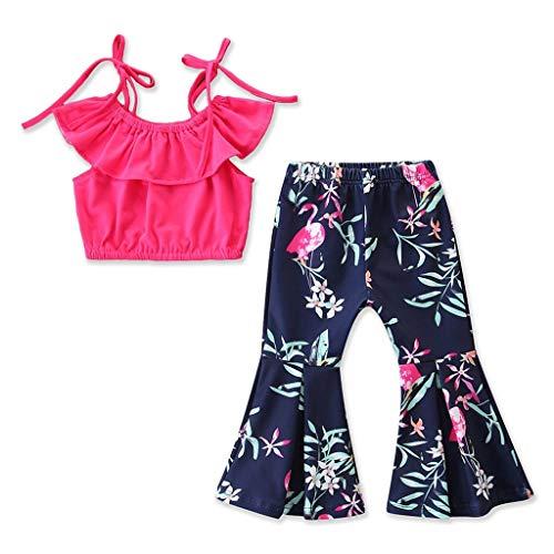 Sommer Kurz Rock Mädchen Party Kleidung Kleinkind Kinder Outfits Kleidung Sling Tops + Blumendrucke Shorts Hosen Sets Anzug 1-6 Jahre ()