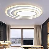 WENSENY LED Deckenleuchten 87W Acryl Deckenlampe Ultra-Thin Runde Deckenleuchte Creative Wohnzimmer Leuchten Edelstahl Esszimmer Restaurant Lampen 60 cm * 45 cm Warme + Weiß + Warme Licht Quelle