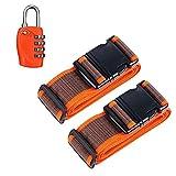 Okaytec Set 3 Accessoires Bagage Voyage - 2 Sangles Réglables & Cadenas Valise - Set de Sécurité Voyage et Code à Combinaison Approuvé par TSA (Orange)