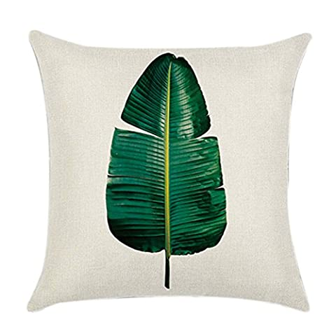 Green Tropical Plant Cushion Case Rest Pillow Cover - Pattern 2 45*45cm