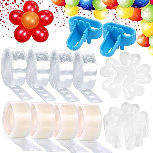 Lagigo BallonBogen Spalte die Streifen-Band-Installationssatz/Ballongirlande Kit, 4 Ballon Band Streifen+ 4 Ballon Kleber Punkt-Punkt Aufklebern+ 30 Blume Form Ballon Clips+ 2 Ballon Bindewerkzeug -