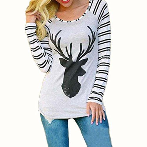 Christmas Hirsch Drucken weihnachtspullover Streifen Damen Pullover Bluse Hemd Tops Weihnachten Frauen Sweatshirts Kapuzenpullis Mode Hemden Pulli Blusen T-shirt Elecenty (Grau, (Hässlich Anzug Weihnachten Pullover)