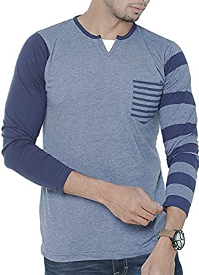 Wexford Men's Cotton Henley Neck Full Sleeves Casual T-Shirt