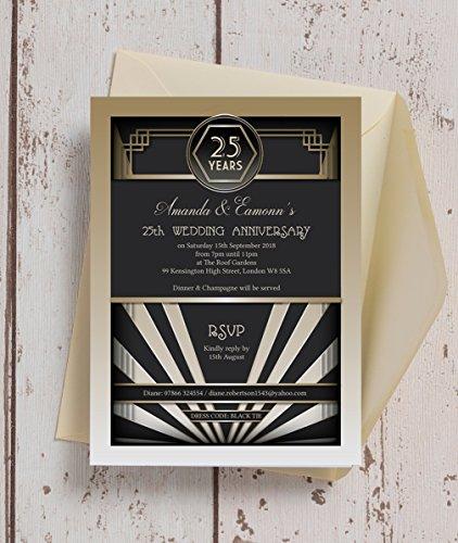 personalisierbar 1920er Art Deco Hochzeit Einladungen mit Umschlägen ()
