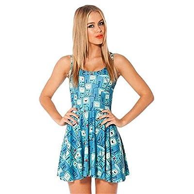 DioKlen Herbst-Frauen-Kleid Abenteuer Zeit BMO Druck Kleider Reversible Skater-Kleid Sexy ?rmel Vestidos Frau Kleidung von DioKlen - Outdoor Shop