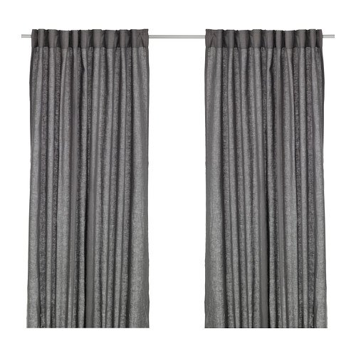 Ikea AINA Gardinenpaar in dunkelgrau; (145x300cm)
