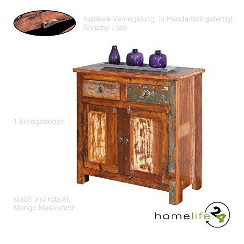 Unikat Kommode in Handarbeit gefertigt mit 2 Schubladen 2 Türen mit Regale mehrfarbig im Shabby Chic Vintage Look aus 100 {6ace3c7568f689a4859dc7b14adde58bdb84628876c3e41e23ffad55220980aa} recyceltem Mangoholz Massivholz für das Wohnzimmer Schlafzimmer Flur