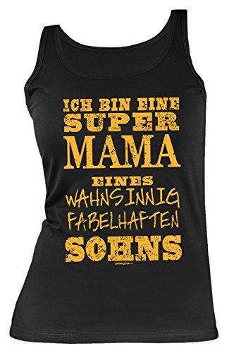 Tanktop passend zum Muttertag - Super Mama eines wahnsinnig fabelhaften Sohns - Muttertagsgeschenk - Farbe: schwarz Schwarz