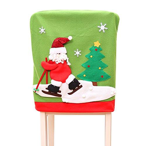 chten Stuhl Rückseite Displayschutzfolie Santa Claus Red Hat Rentier Schneemann Lovely Christmas Abendessen Tisch Party Decor Raum Deko für Küche Esszimmer Restaurants 1PCS g (Mrs Santa Anzug)