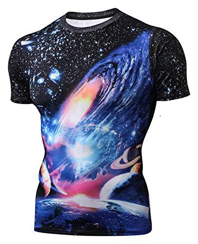 Pizoff Unisex Hip-Hop Kurzarm 3D Druck T-Shirt Universum ()