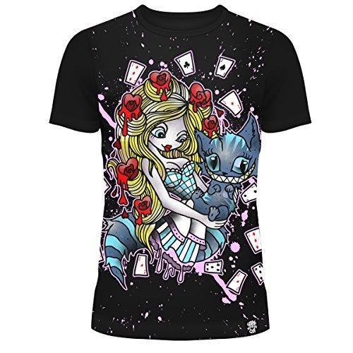 T-shirt Cupcake Cult Alice au pays des merveilles Cartes à jouer Punk Goth - Noir (S - FR 38)