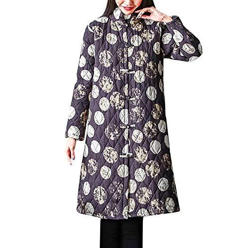 Frauenmantel Schachtelhalm Creme Frauen Winter Warme Baumwolle Leinen Dot Print Tasten Taschen Lange Mantel Outwear Damen Mantel Grau Winter -
