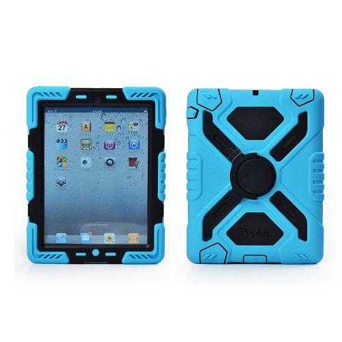 Pepk iPad Mini Silicone Plastic Protective Dual Layer Shock Absorbing Kid-Proof Case Built in Stand Designed for The Apple iPad Mini 1/2/3 Black Black Silicon Case Screen