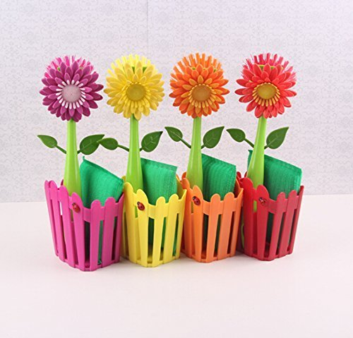 Buyerzone Flower Power Sink Side Fence Caddy Set with Suction, Brush and Sponge,Cleaning Brush Set With Flower Pot Holder(Multi Color)