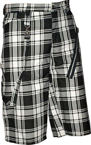 Nix Gut - Tartan, Short im Straight-Fit-Style, Farbe: Schwarz/Weiß Zweifarbig