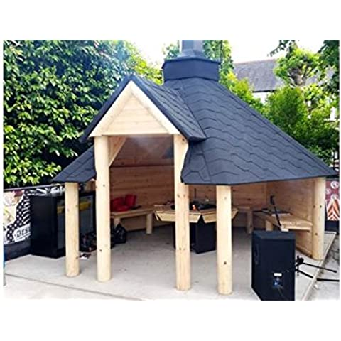 Cobertizo de madera con barbacoa, 9,2m2, teca y tejas con betún, viene con barbacoa con plataformas, mesa alrededor de la parrilla, chimenea ajustable y 3 bancos de interior
