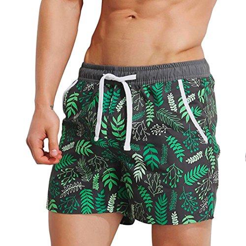 QinMM Männer Breathable Badeanzug Badehose Hosen Bademode Shorts Slim Wear Bikini (Asian Size:M, Grün)