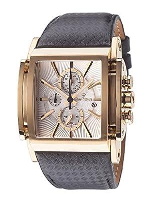 Yves Camani Escaut - Reloj de cuarzo para hombres, con correa de cuero de color negro, esfera blanca de Yves Camani