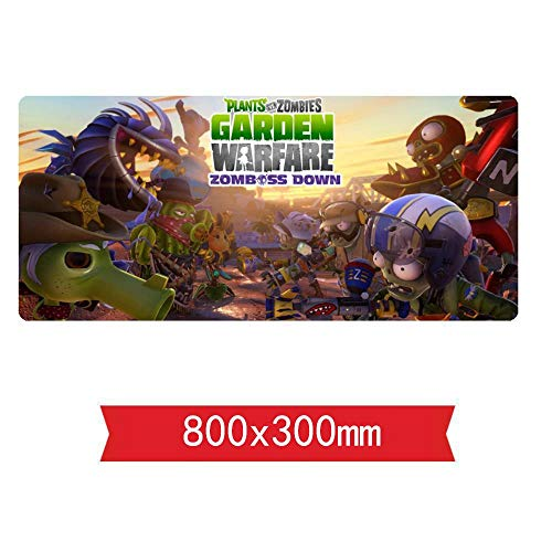 IGIRC Mauspad,Plants vs. Zombies Mouse Mat Gaming, 800 x 300 x 3 mm, Non-Slip Rubber Base, Perfect Precision and Speed,Compatible with Laser and Optical Mice, E - Plants Vs Von Bilder