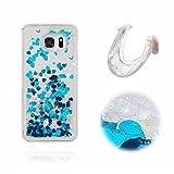 Galaxy S6 Edge Hüllen, MingKun TPU Soft Transparent Bling Glitzer Schutzhülle für Samsung Galaxy S6 Edge Dynamisch Flüssige Fließend Silikon Case Cover Handy Kratzfeste Schale Tasche - LOVE Blau