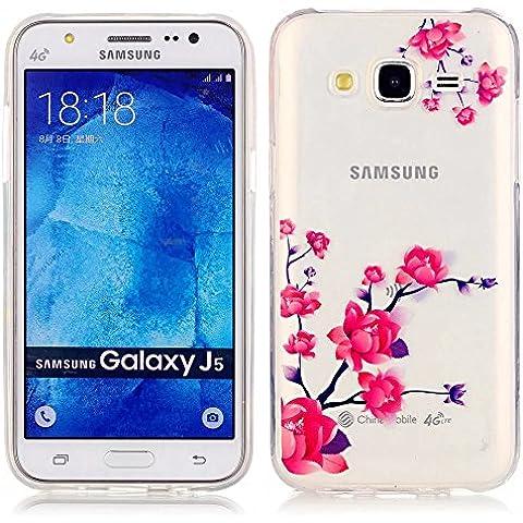 KSHOP Funda Case para Samsung Galaxy J5(2015) Case Cover Carcasa Suave Flexible TPU Silicona gel Forro Delgada Resistente a los Arañazos - flor de durazno