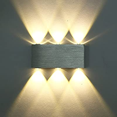 CMYK® Modern Aluminum 6 LED 6W Up Down Wall Lights for Living Room Bedroom(Warm White)